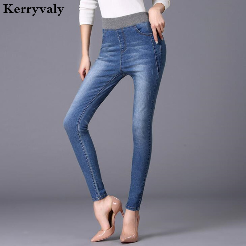 Boyfriend Jeans for Women Big Size Elastic High Waist Jeans Femme Vaqueros Mujer Fashion 2017 Blue Denim Pencil Pants S981154 zbaiyh 2017 summer fashion high waist jeans women ripped jean retro boyfriend femme vaqueros mujer plus size jeans denim pants