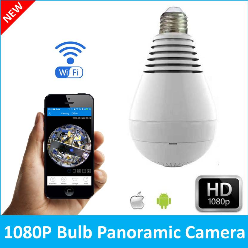 Bulb Light Wireless IP Camera Wi-fi FishEye 1080P 360 degree Mini CCTV VR Camera 2.0MP Home Security V380 WiFi Camera Panoramic vr360 panoramic camera wi fi remote control sports action camera