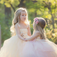 ורוד שנהב חתונה ילדי מסיבת שמלת ילדה פרח תחרות יום הולדת שמלת טוטו נסיכת כדור שמלות שושבינה פרח Sashes טול