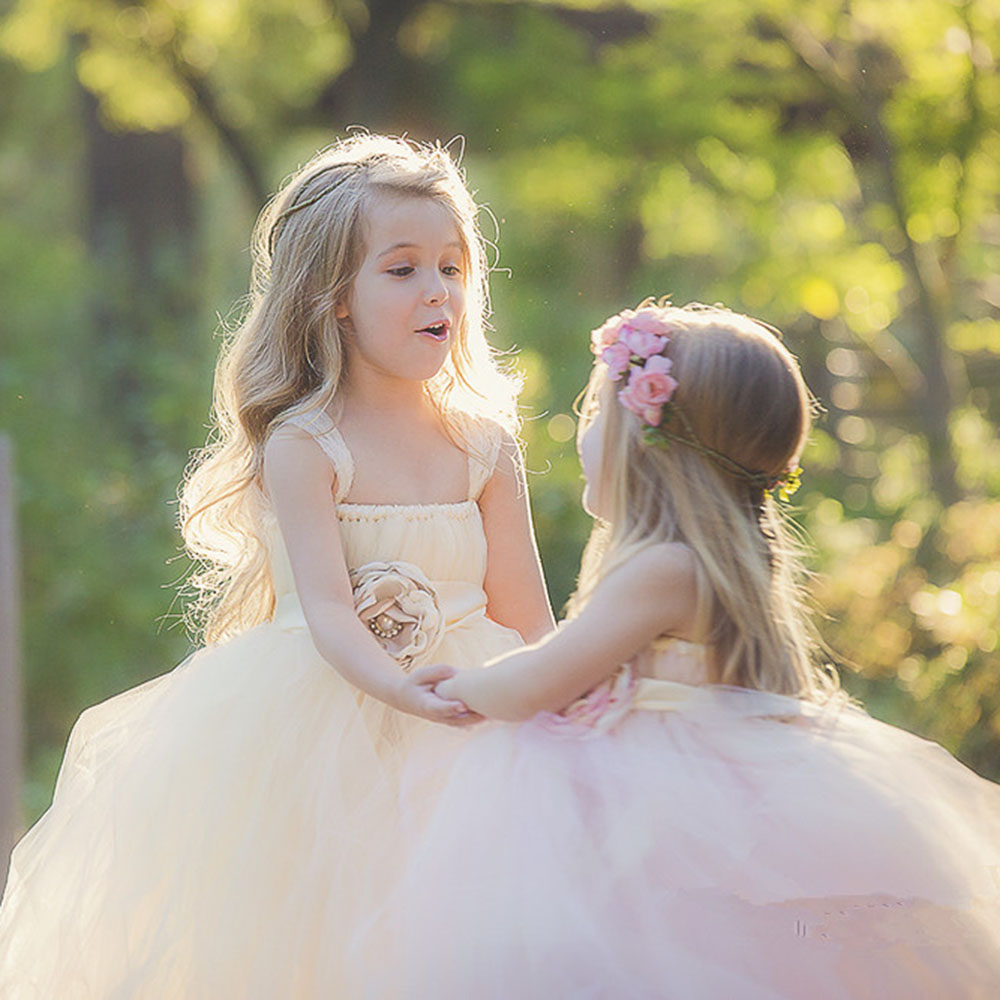 Ivory Pink Wedding Flower Girl Dress Kids Party Pageant Birthday Bridesmaid Flower Sashes Tulle Tutu Dress Princess Ball Gowns feathers flower girl dresses baby girl tutu dress tulle princess dress ball gowns kids wedding birthday bridesmaid party dress