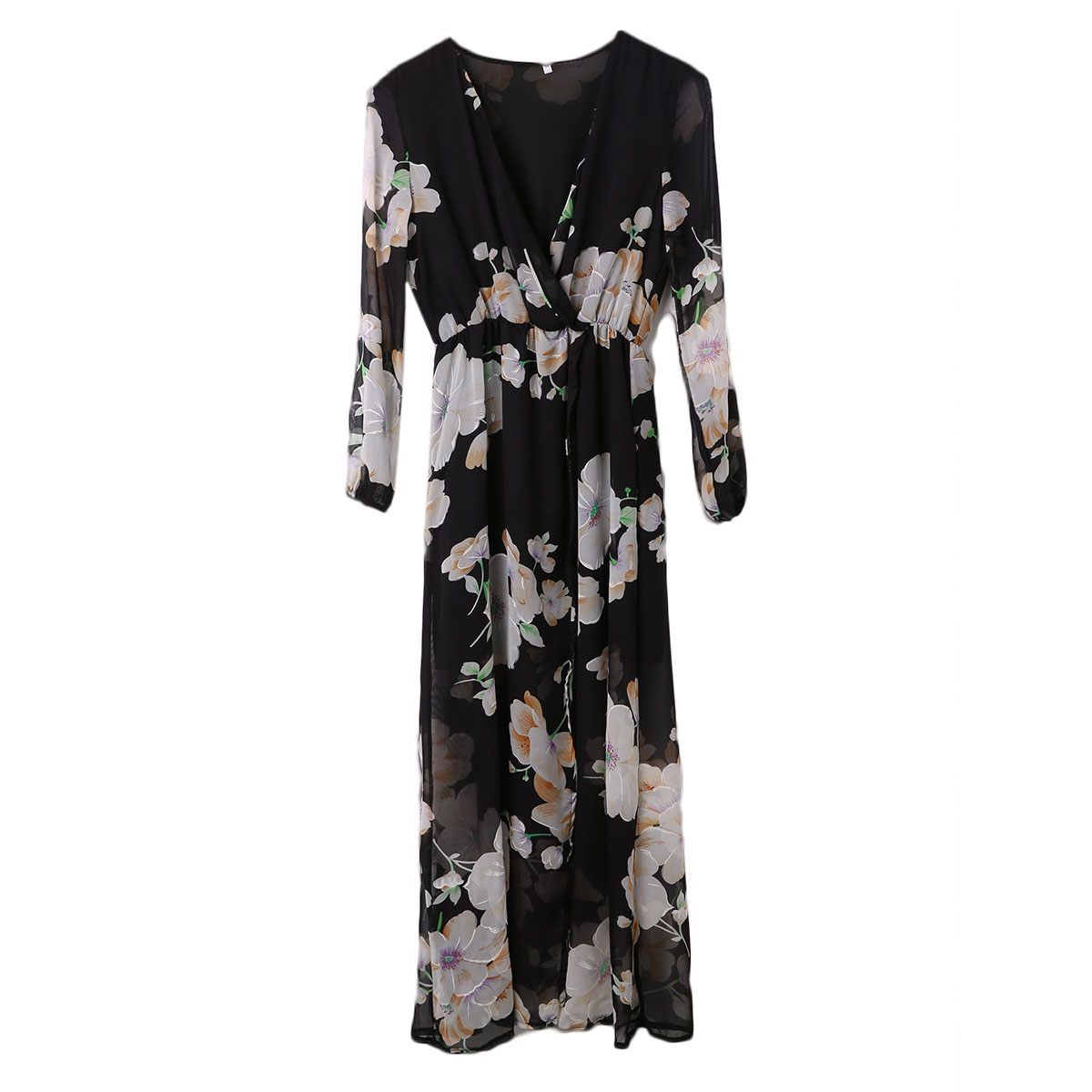 Fashion Women Ladies Floral Print Long Sleeve Sexy V-neck Boho Evening Party Long Maxi Dress Stylish Womens Long Flower Dresses
