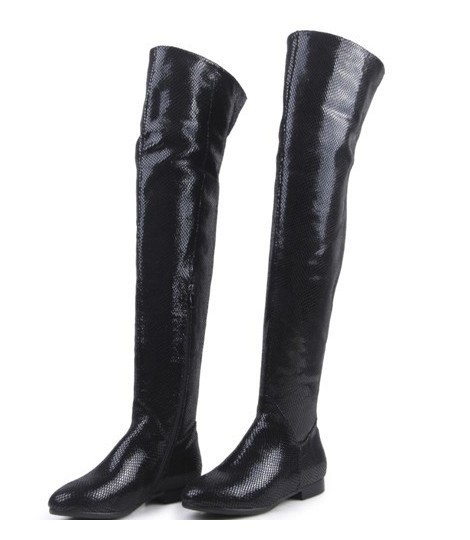 Newest arrivals fashion sexy over-knee women boots cowhide serpentine winter warm women fashion flat long boots plus size 41