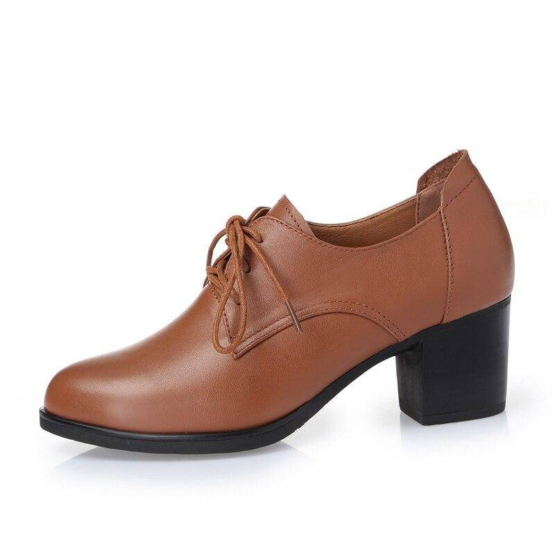 ALISHINREY 新女性の靴春の本革の厚さのヒールレースアップ靴プラットフォームハイヒールの女性  グループ上の 靴 からの レディースパンプス の中 3