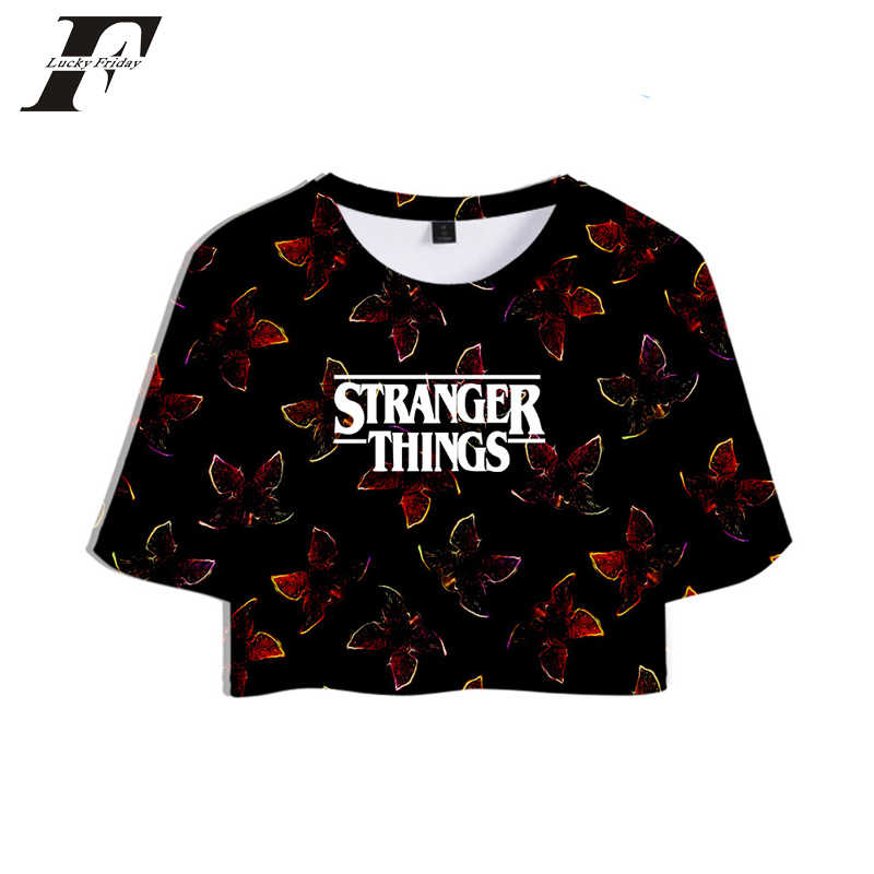 New Stranger Things 3D t shirt women Horror TV series Stranger Thing 3D tshirt Tops Crops t-shirt Short Sexy Sale Casual Clothes