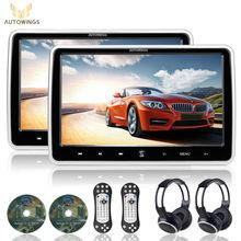 2x10.1 pulgadas HD 1024*600 Pantalla TFT LCD Reposacabezas Monitor Del Coche Reproductor de DVD Portátil USB/SD/HDMI/FM Juego Botón Táctil de Control Remoto