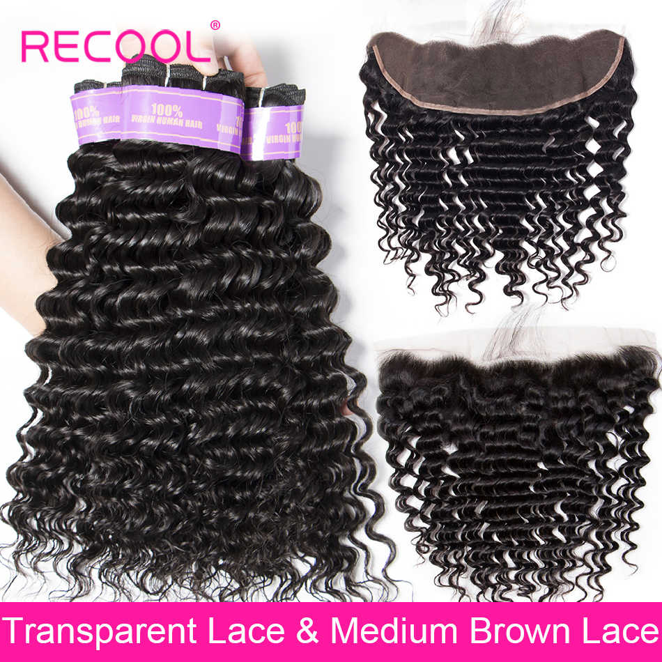 Recool Deep Wave 3 Bundle With Frontal Closure Brazilian Human Hair Weave Bundle With Closure HD transparent Swiss Lace Frontal