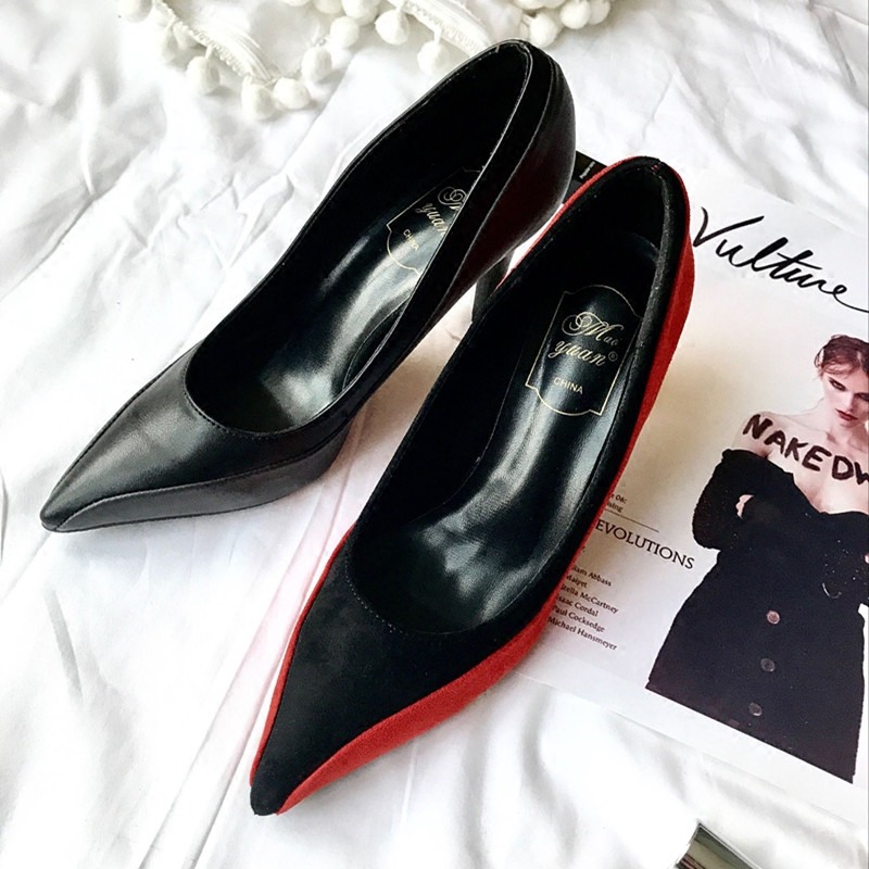 Mince 9cm01 9cm02 Épissage Chaussures 7cm01 Avec Collision À Plus Talons Couleur 7cm02 Noir Hauts Pointu Orange 7UPSw4Zqq