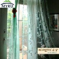 MYRU 140*240 cm menthe vert salon voilages flocage décoratif voile rideaux pour chambre à coucher
