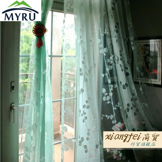 MYRU 140240cm Mint Green Living Room Sheer Curtains Flocking Decorative Voile For Bed