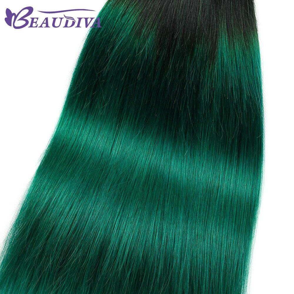 Ombre Bundel Dengan Penutupan 3 T1b Hijau Gelap Akar Turquoise Lurus Sutra Rambut Mia Di 4 Dari