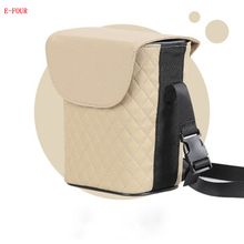 E-FOUR Car Back Seat Hanging Trash Bin Plastic PP PVC Leather Car Storage Waterproof Rubbish Bag Interior Storage Accessory Cars e four car back seat rubbish bag leather pp waterproof bag for car stowing tidying organizer accessories luxury trash tin cars