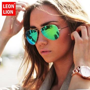 LeonLion 2018 lunettes De soleil miroir pilote femmes/hommes marque Designer lunettes De soleil De luxe femmes Vintage conduite en plein air Oculos De Sol