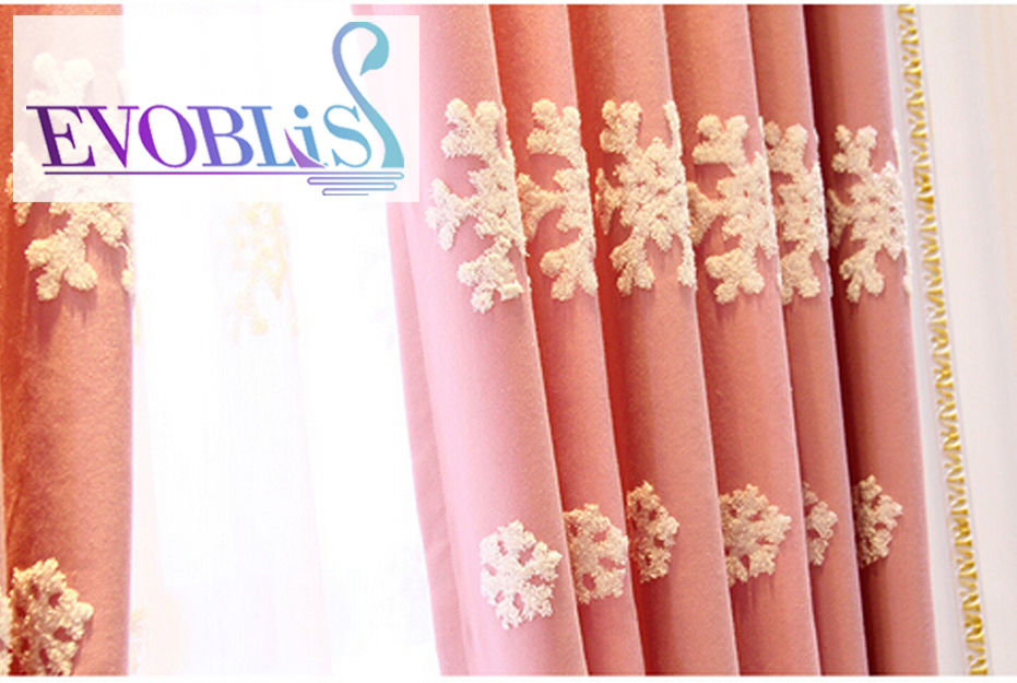 Pink embroidered snowflakes beautiful curtains for living room morden blackout curtains for bedroom tende camera da letto