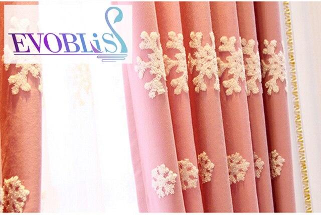 Mooie Slaapkamer Gordijnen : Roze geborduurde sneeuwvlokken mooie gordijnen woonkamer morden