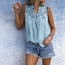 цена на Women Lace Patchwork Blouse Casual Loose Shirt Summer Sleeveless Chiffon Blouses Vests Plus Size