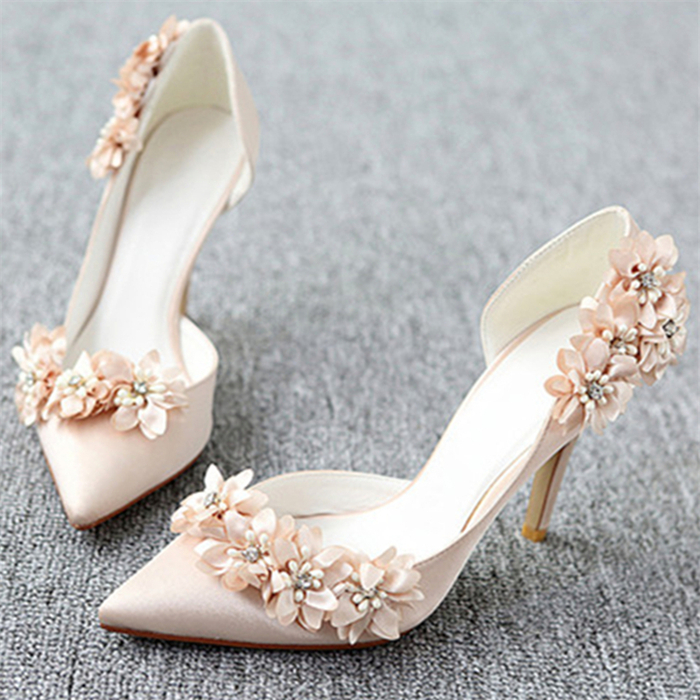 ФОТО Summer new Flowers wedding shoes thin high heels with rhinestones pointed bridesmaid shoes women shallow mouth PU designer shoes