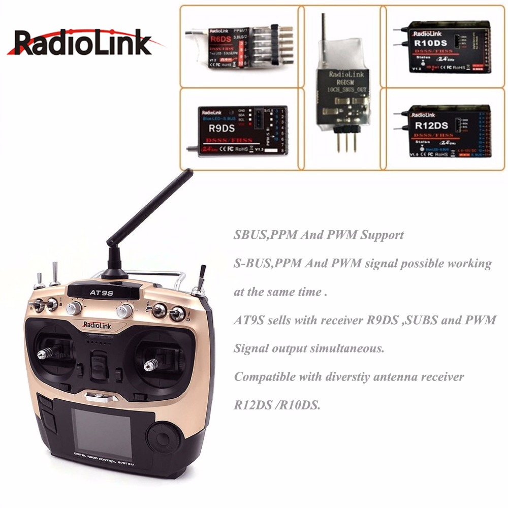 Transmisor de sistema Radiolink AT9S 2,4G 9CH con receptor R9DS AT9 visión de actualización de Control remoto para helicóptero RC quadcopter-in Partes y accesorios from Juguetes y pasatiempos    2