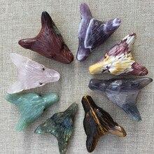 3 см натуральный кристалл камень подвеска в виде волчьей головы DIY ювелирные аксессуары модный тренд