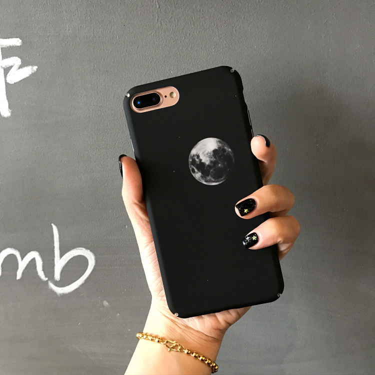 SZYHOME Phone Cases for IPhone 6 6s 7 Plus Hard Frosted Plastic Black Earth Planet for IPhone 7 Phone Cover Case Bag Capa Coque