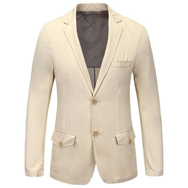 2016 New Arrival Outono Inverno Moda Masculina Slim Fit Blazers Terno do lazer Dos Homens Jaqueta Blazer Masculino luz cáqui Plus Size M-2XL