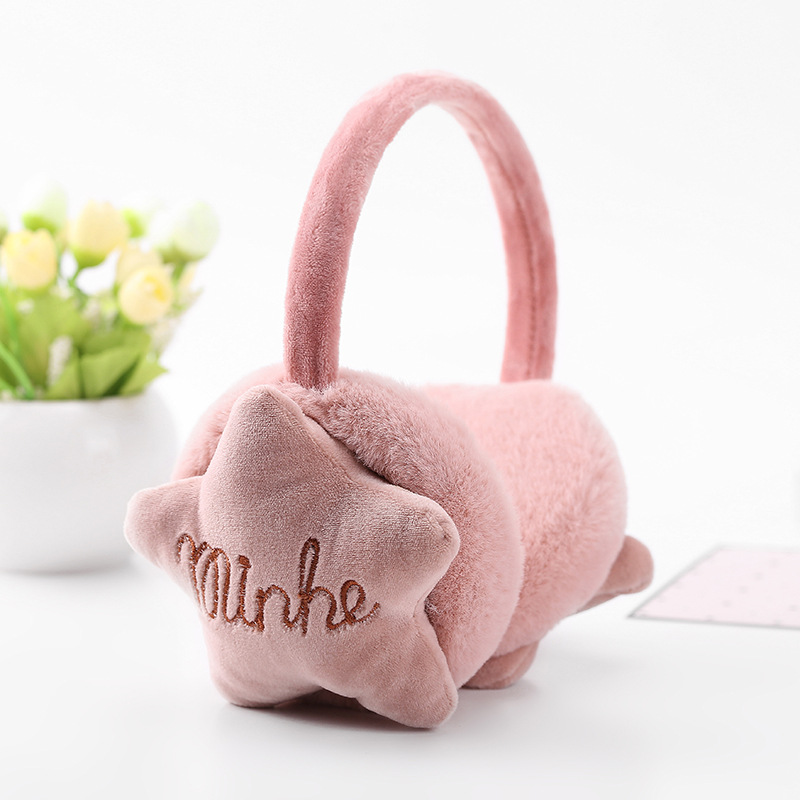 New Design Winter Earmuffs For Women Girls Boys Star Earmuffs Warmers Winter Comfortable Warm Winter Earmuffs TKE004-peach