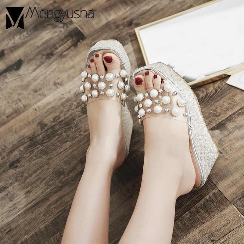 d71794f368 cork wedges sandals women transparent pearl gladiator sandals rivets  platform sandals creepers high heel flip flops beaded shoes