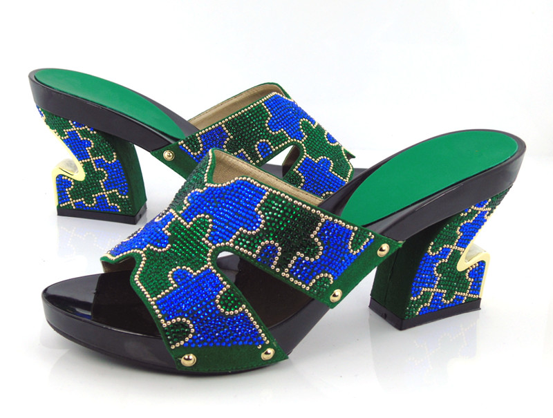 ФОТО Item No.KL1601-GREEN new style African woman matching italian shoe for wedding