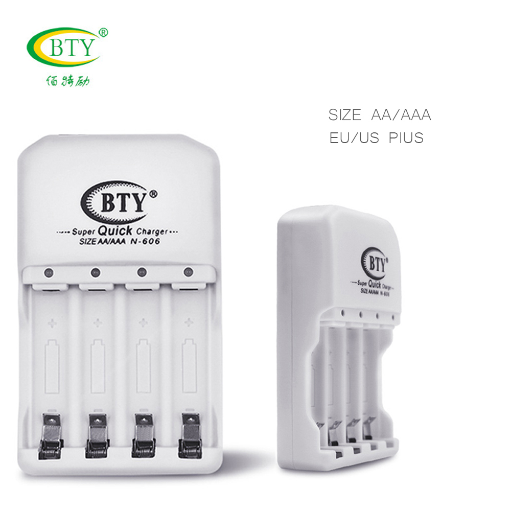 BTY 606 battery charger Quick Speed Charging For AA AAA 4 batteries DC 1.4V USB Port US EU Plug chargeur de High Quality