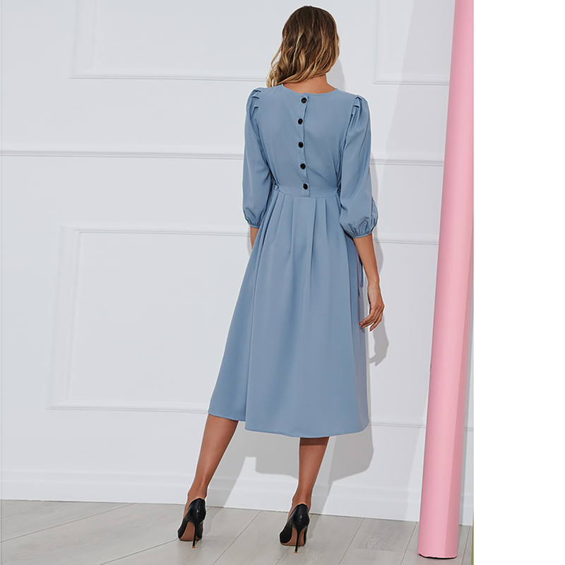 83755198f8fb5 Blue Button Bandage Dress Women 2019 Spring Summer Half Sleeve Knee-Length  Dresses Vestidos Elegant Office Lady Party Dress