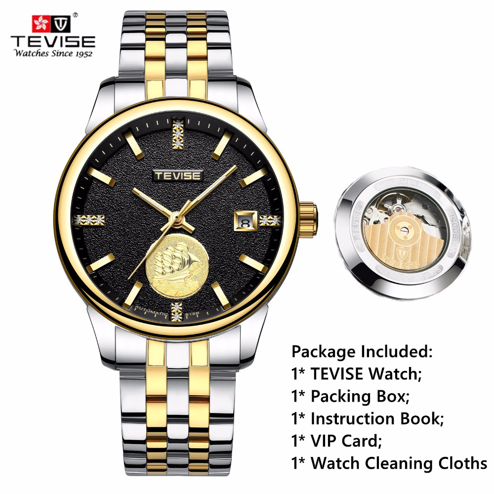 Brand TEVISE Automatic Watch Men Luxury Mechanical Watches Black Luminous Watch Male Clock Stainless Steel Wristwatch Relogio men gold watches automatic mechanical watch male luminous wristwatch stainless steel band luxury brand sports design watches