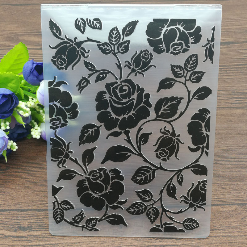 peony flower Embossing folders Plastic Embossing Folder For Scrapbooking—YJ