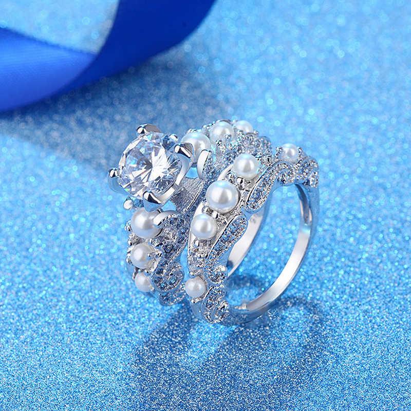 Роскошная бижутерия yinhed свадебный набор обручальных колец 2 шт. серебро 925 пробы AAA + кубический циркон Ювелирное кольцо с имитацией Перл для женщин подарок ZR527