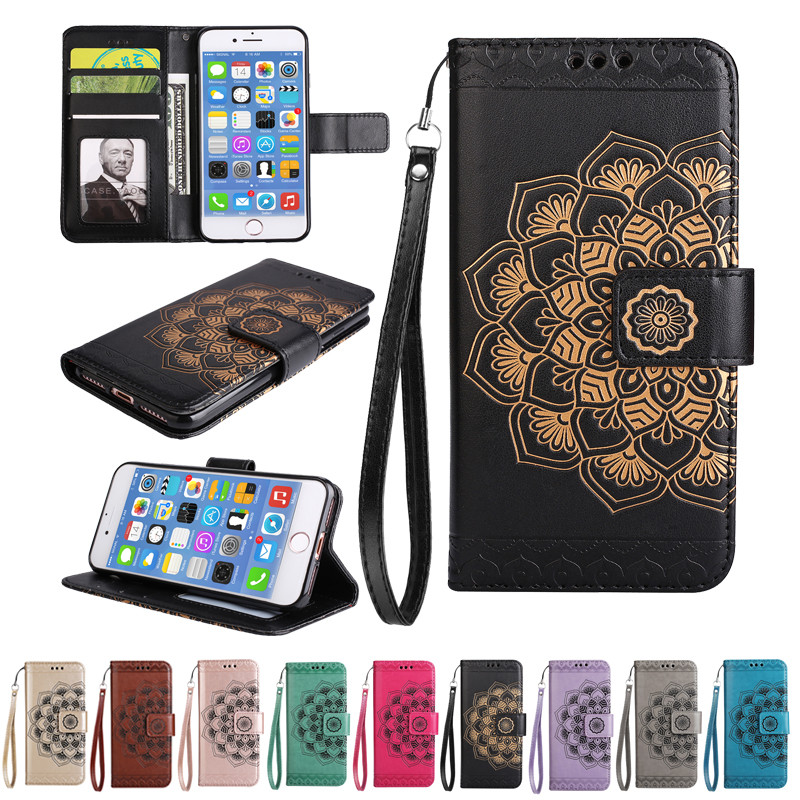 Case for iPhone 7iPhone 8 3D Embossed Flower Phone Flip Case PU Leather Stand Wallet Case for iPhone 7 iPhone 8 Cover Coque