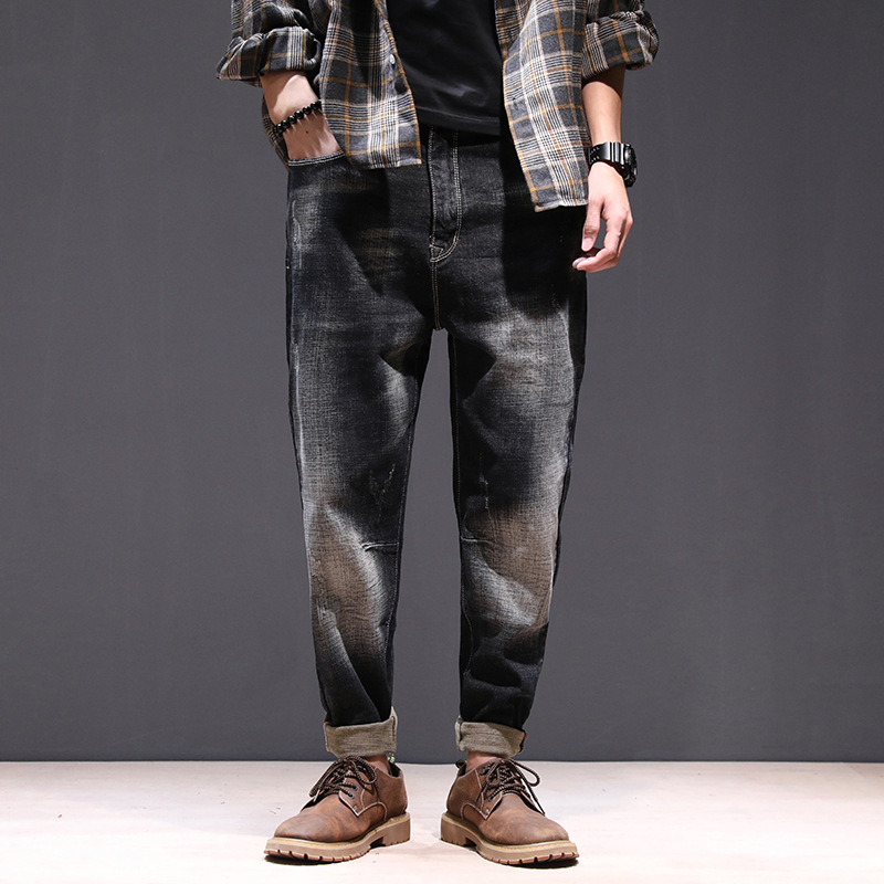 Fashion Hip Hop Men's Pencil Pants 2018 New Arrival Loose Washed Scratched Harem Jeans Denim Trousers Sreetwear Clothing 28-42