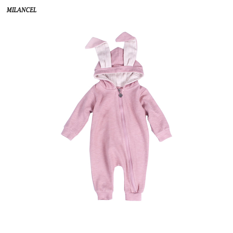 Milancel 2017 Autumn Baby Rompers Cute Cartoon Rabbit Infant Girls Boys Jumpers Kids Baby Outfits Baby Clothes Bunny Jumpsuits 0 12m autumn cotton baby rompers cute cartoon clothing set for baby boys infant girls clothes jumpsuits foot coveralls romper