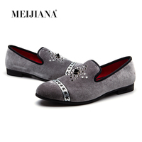 MEIJIANA Popular Men's fashion Velvet Loafers Pointed Toe Slip on Flat Casual Shoes Driving Mocassins Red Bottom Loafers Men