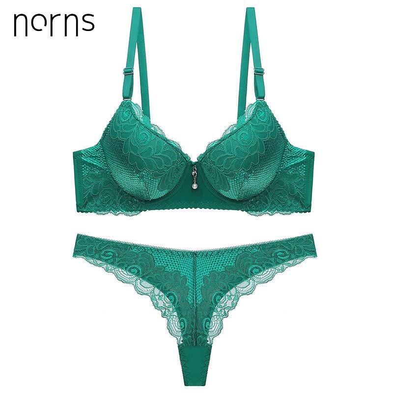 Norns New 2019 Bra Brief Set Intimate Plus Size Bra Panty Set Sexy Thongs Women Bra Set Push Up Lace Underwear Set