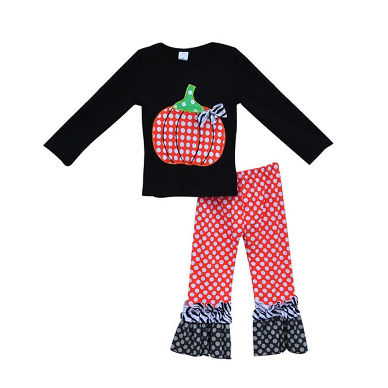 Girls Boutique Clothing Pumpkin Sticker Decor Dot Pattern Ruffle Pants Casual Loose Style Halloween Costume For