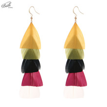 Badu Bohemian Long Earring Colorful Layered Triangle Feather Dangle Earrings Women Big Jewelry Drop ship Christmas Party Prom