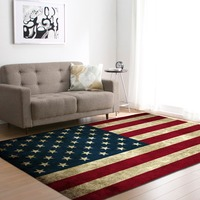 Nordic Large Living Room Carpets Soft Flannel America National Flag Tea Table Area Rugs Kids Crawling Play Mat Rug and Carpet