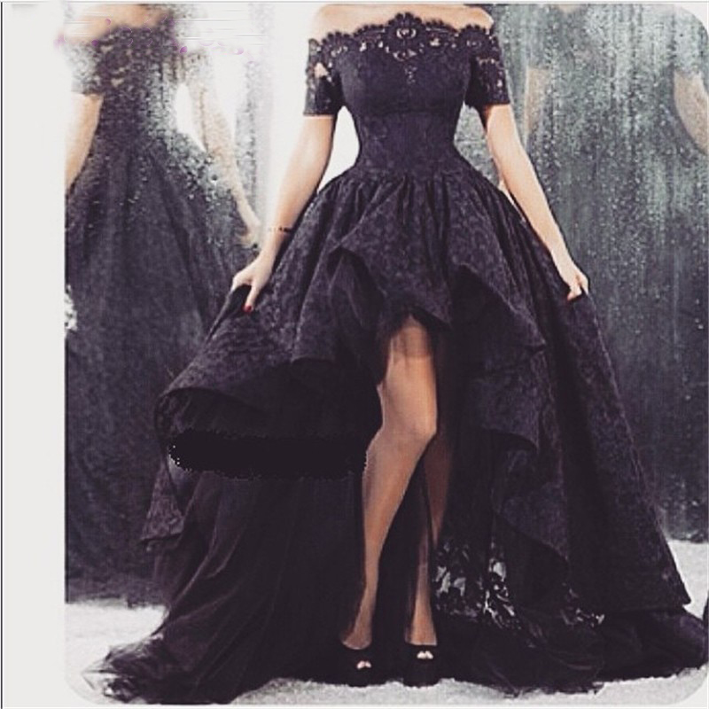 2017 Ball Gown Off Shoulder Appliques Short Sleeve Black Lace ...