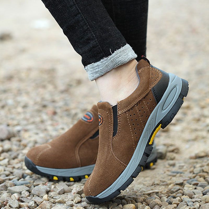 Steel Toe Safety Work Shoes Men 2018 Fashion Autumn Breathable Slip On Casual Boots Mens Labor Insurance Puncture Proof FM249 halinfer men safety work shoes steel toe caps 2018 fashion casual breathable slip on safety boots puncture proof sneaker shoe
