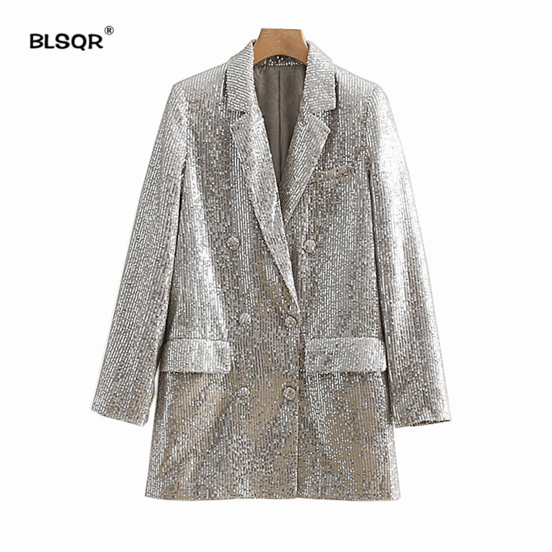 Women Geometric Pattern Sequined Blazer Feminino Shining Pockets Long Sleeve Outerwear Vintage Female Casual Tops