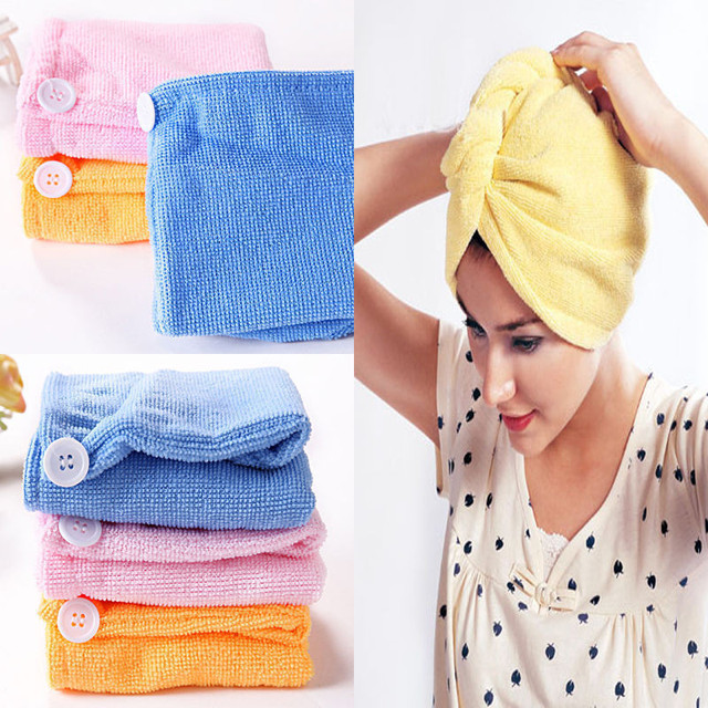 Absorbent Microfiber Towel Turban Hair-Drying Quick Dry Shower Caps Bathrobe Hat Hair Wraps for Women Random Color 21*51cm