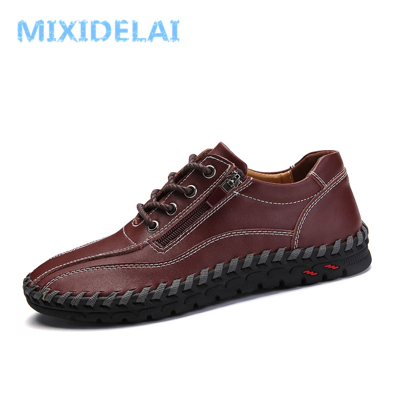 MIXIDELAI Fashion Breathable Genuine Leather Men Shoes Lace Up Moccasins Flats Mens Casual Shoes Hot Sale Large Sizes 38-48