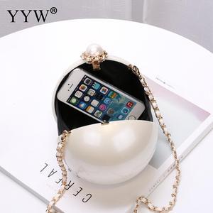 Image 5 - Designer Women White Ball Shape Acrylic Clutch Bags Luxury Pearl Decor Bridal Purse Handbags Chain Messenger Bags Shoulder Bag
