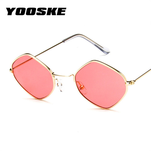 f75181cb797 YOOSKE Retro Sunglasses Women Brand Designer Small Metal Sun Glasses Ladies  Rhombus Red Pink Clear Eyewear