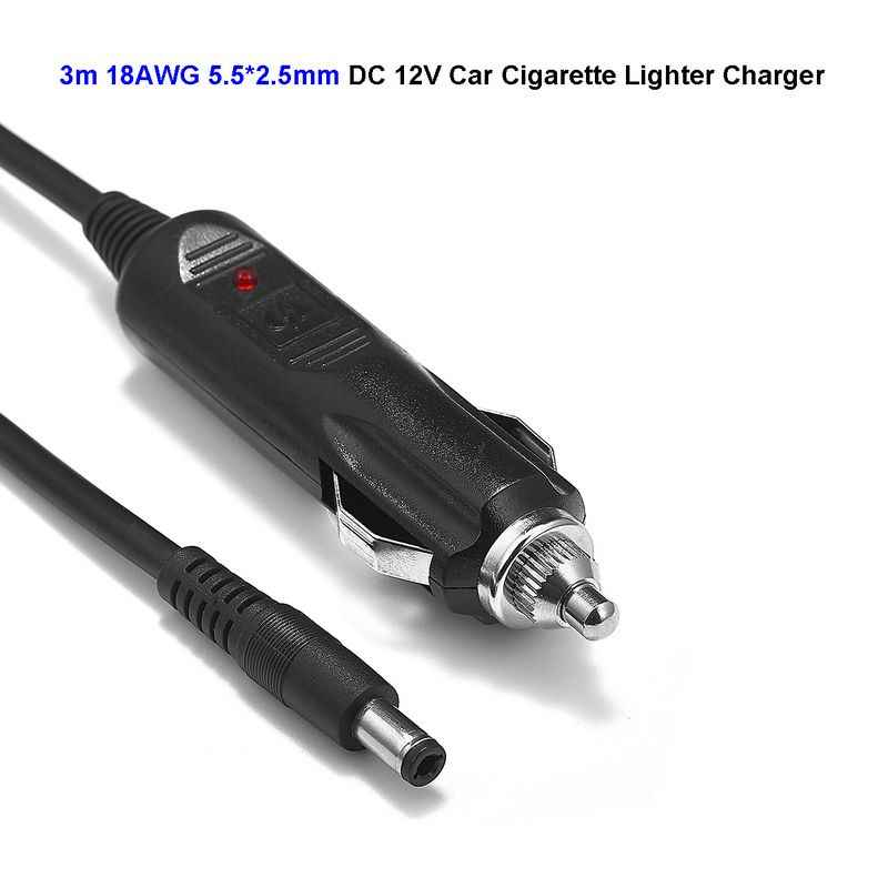 DC 12-24V 5.5mm x 2.5mm Car Auto Cigarette Lighter Power Adapter 18AWG 3m Cable For LED Strip Light Automobile Massage Cushion