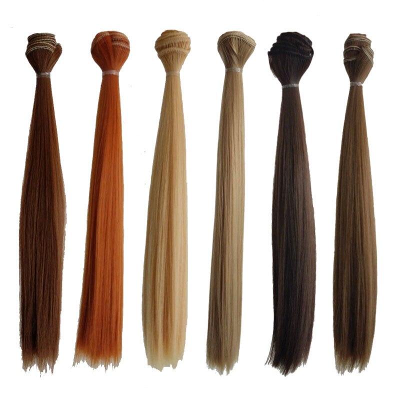 1PCS 25CM SD BJD Hair Wig DIY Synthetic Fiber Straight Hair For font b Dolls b