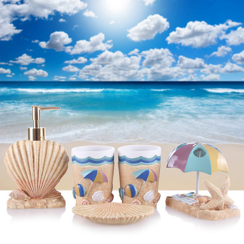 Magrace Five Pieces Resin Bathroom Set Fashion Summer Beach Soap Box Storage Toilet Brush Accessories In